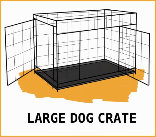 drawing of a large dog crate