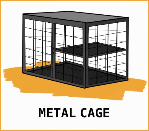 drawing of a metal cage