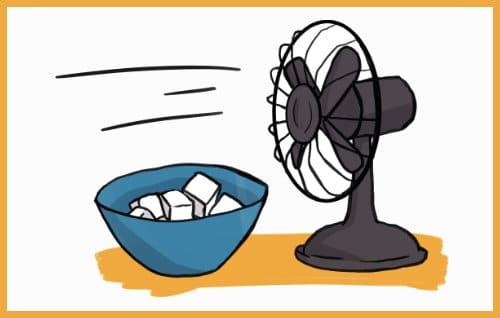 makeshift AC ice fan