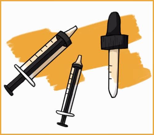 rabbit syringes and eye dropper