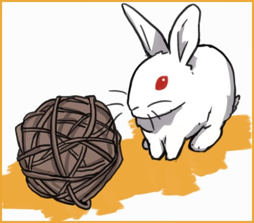 rabbit with a willow ball