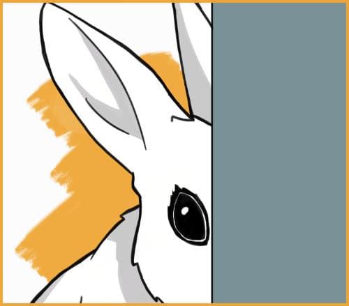rabbit hiding behind a wall