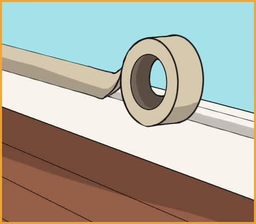 masking tape on baseboards