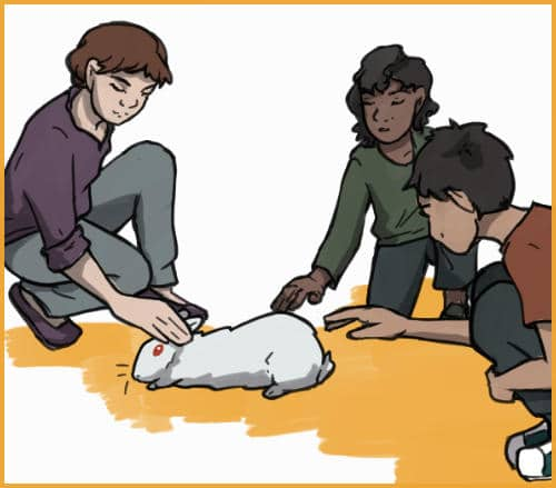 children with a therapy rabbit