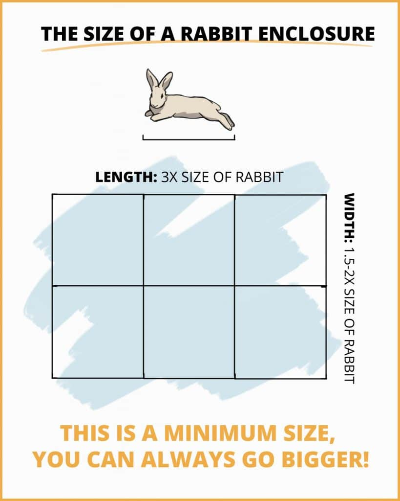 Visual example of the square footage of a rabbit enclosure