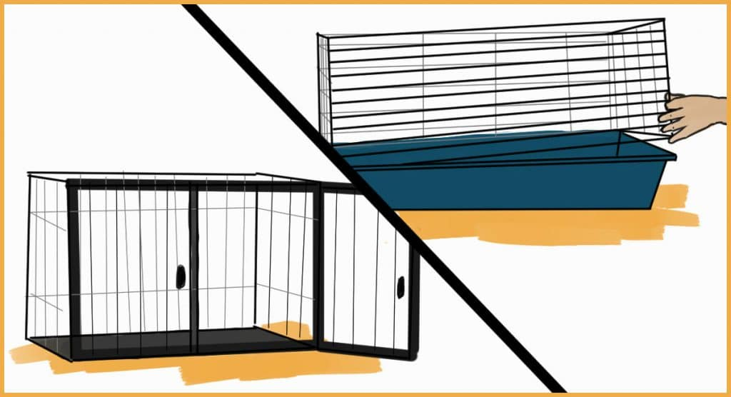 rabbit enclosures with easily accessible insides